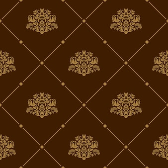 Royal wallpaper seamless floral pattern on brown background
