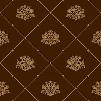 갈색 바탕에 로얄 벽지 원활한 꽃 패턴