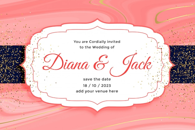 Royal wedding card invitation with golden glitter effect
