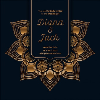 Royal wedding invitation template with mandala design