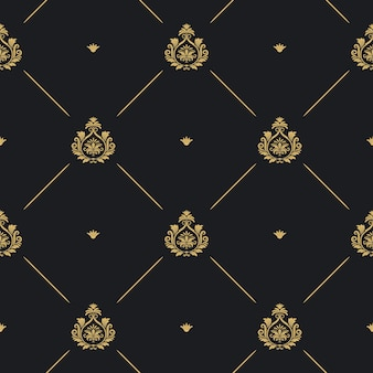 Royal wedding pattern seamless background, line and golden element on black, vector illustration
