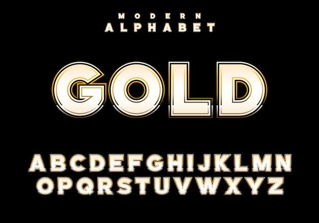 Royald gold alphabet. gold gradint stroke, bold letters