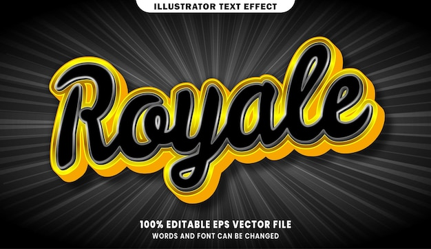 Royale 3d editable text style effect