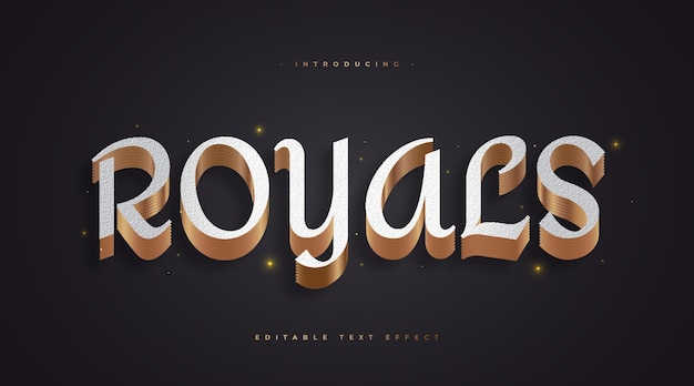 Royale text in white and gold style with 3d effect
