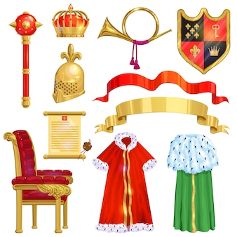 Royalty golden royal crown symbol of king queen and princess illustration sign of crowning prince authority set of crown jeweles and throne isolated on white background