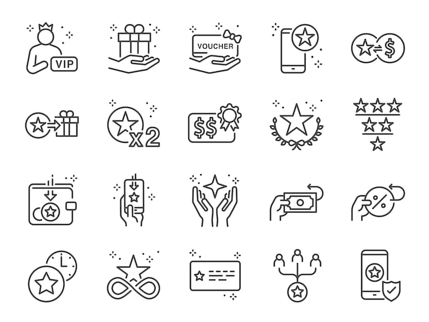 Royalty program line icon set.