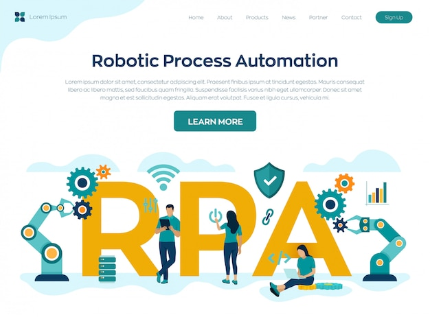 Rpa robotic process automation innovation technology landing page