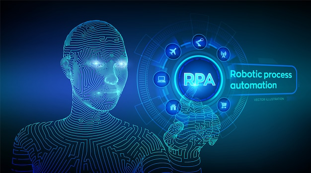 Rpa. robotic process automation. wireframed cyborg hand touching digital graph interface.