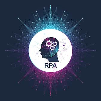 Rpa роботизация процессов автоматизации. футуристический баннер шаблон концепции rpa. инновационные технологии. искусственный интеллект. rpa векторные иллюстрации