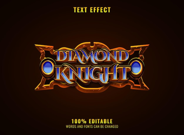 Rpg medieval diamond knight game logo title text effect