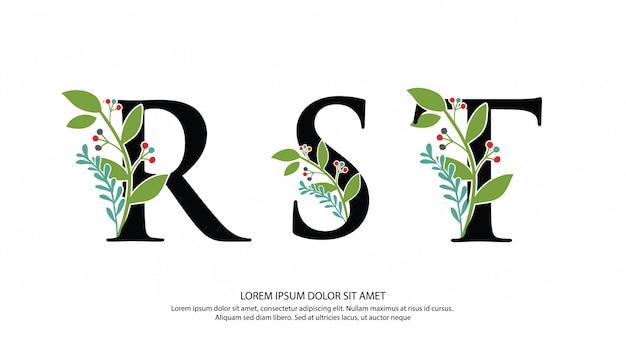Начальная буква rst с цветочной формой