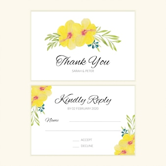 Rsvp card template for wedding in watercolor floral style