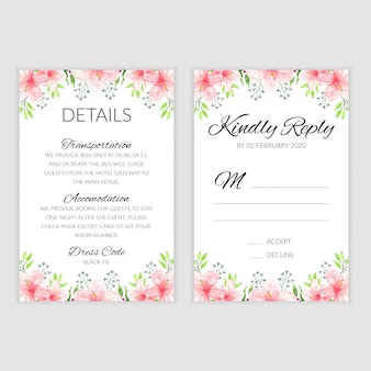 Rsvp card template with watercolor summer flower bouquet