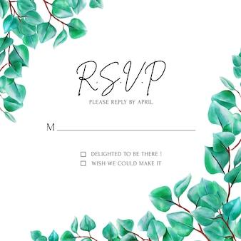 Современная зелень эвкалиптового листа rsvp card.