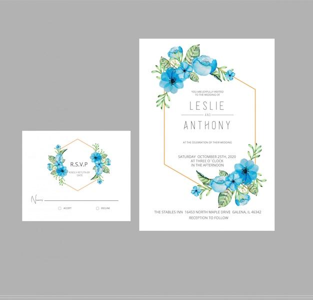 Акварельные цветы свадебные приглашения rsvp card