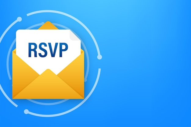Rsvpメールアイコン。メールリニアサインに返信してください。ベクトルストックイラスト。