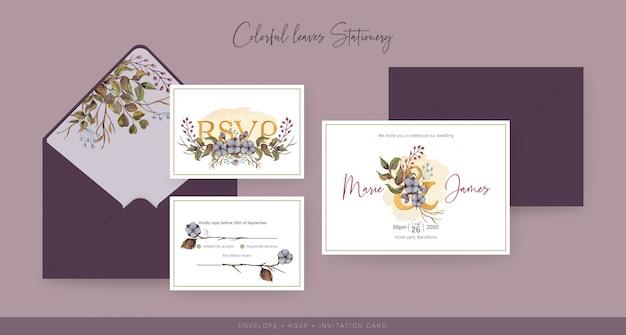 秋の結婚式の招待状とrsvpカード