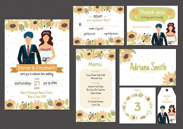 Свадебные приглашения шаблон с очаровательны жениха и невесты. приглашение, rsvp, меню, благодарственная карточка, номер стола, карточка сопровождения и метка. векторная иллюстрация