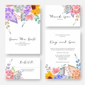 結婚式の招待状、花の招待状ありがとう、rsvpモダンなカードデザイン