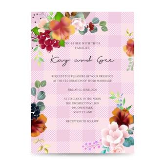 結婚式招待状、花の招待状ありがとう、rsvpモダンなカードデザイン:熱帯熱帯ヤシの葉緑ユーカリの枝装飾的な花輪&フレームパターン。ベクトルエレガントな水彩素朴なテンプレート