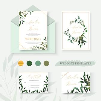 結婚式の花の金の招待カード封筒は緑の熱帯の葉のハーブユーカリの花輪とフレームで日付のrsvpデザインを保存します。植物のエレガントな装飾的なベクトルテンプレート水彩風