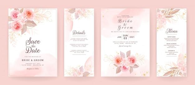Изящный свадебный шаблон пригласительного билета установлен с акварелью и цветочным художественным оформлением. фон цветы для историй в социальных сетях, сохранить дату, приветствие, rsvp, спасибо