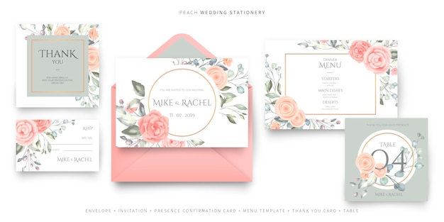 ピンクのウェディングステーショナリー、招待カードテンプレート、rsvp、お礼状、メニューテンプレート