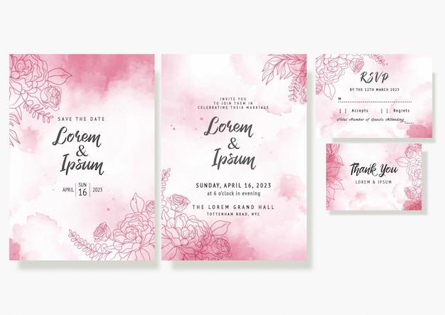 Свадебные цветочные приглашения сохранить дату rsvp дизайн элегантный декоративный шаблон в акварели