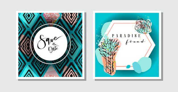 Рисованной абстрактный творческий коллаж от руки текстурированные сохранить шаблон коллекции поздравительных открыток даты с сочными цветами и кактусами. свадьба, сохранить дату, день рождения, rsvp