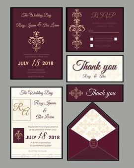 結婚式の招待状、日付、rsvpカード、ありがとうカード、ギフトタグ、プレイスカード、レスポンスカードを保存します。