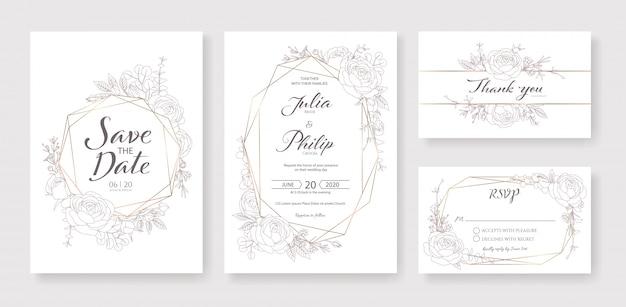 結婚式の招待状、日付を保存、ありがとう、rsvpカードテンプレート。