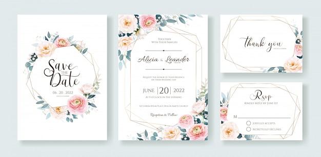 Цветочные свадебные приглашения, сохранить дату, спасибо, шаблон карты rsvp.