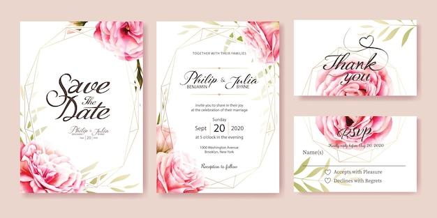 結婚式招待状、rsvpカード。水彩スタイル。ベクター。