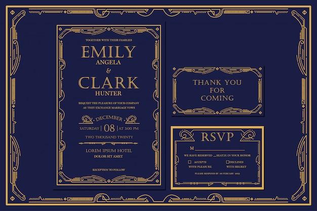 フレーム付きのゴールドカラーのアールデコ様式の婚約/結婚式招待状ネイビー。クラシックネイビープレミアムヴィンテージスタイル。サンキュータグとrsvpを含める