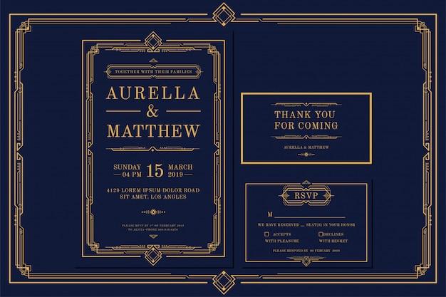 フレームとゴールドカラーのアールデコの婚約/結婚式の招待カードテンプレート。クラシックネイビープレミアムヴィンテージスタイル。サンキュータグとrsvpを含める