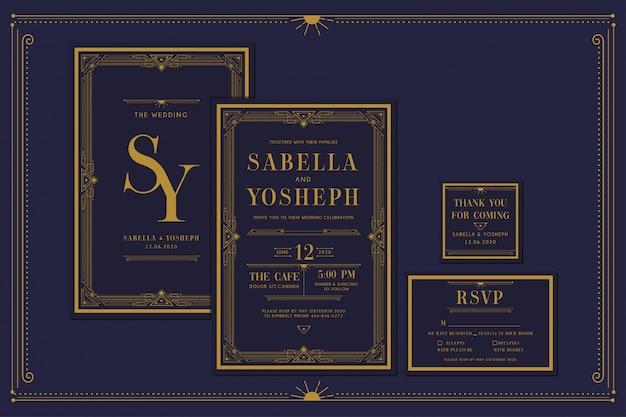 フレームとゴールドカラーのアールデコの婚約/結婚式の招待。クラシックネイビープレミアムヴィンテージスタイル。サンキュータグとrsvpを含めます。
