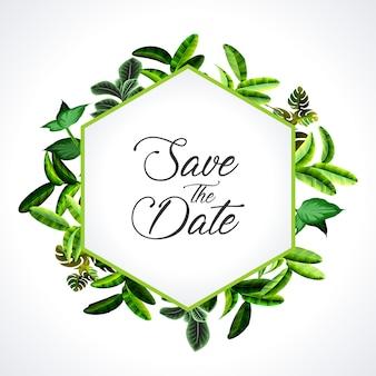 Приглашение на свадьбу, приглашение с цветочным приглашением, современная карта rsvp дизайн: зеленые тропические пальмовые листья, зелень, ветви эвкалипта, декоративный венок