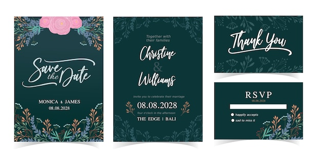 結婚式招待状カードテンプレートセット緑と花の自然なベクターデザイン。 rsvpブライダルカード