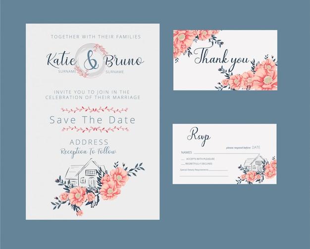花の結婚式の招待状とrsvpカード