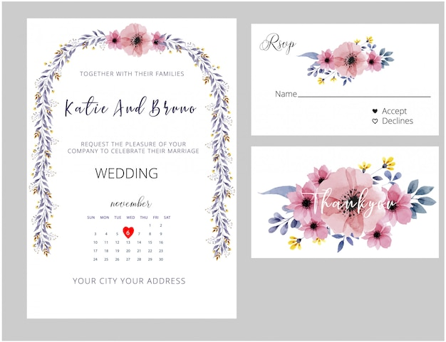 結婚式招待状、rsvpカード、ありがとうカード水彩風。