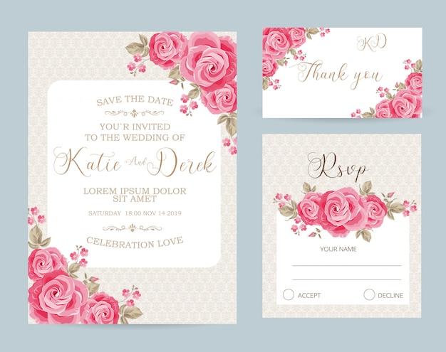 花のウェディングカードテンプレートrsvpとありがとうカード
