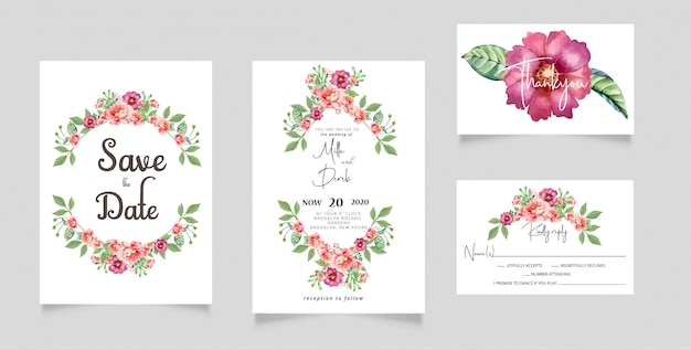 水彩花の結婚式の招待状のrsvpカード