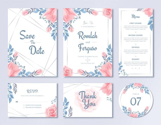Rsvpメニューとテーブル番号を持つ豪華な結婚式の招待状カードテンプレートセット水彩画の花飾り