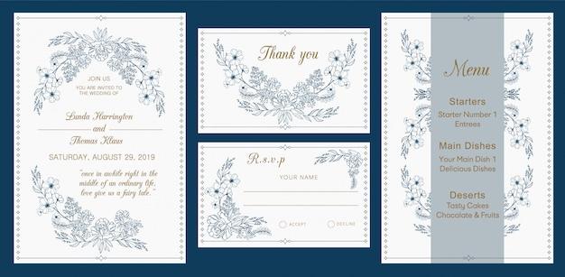 結婚式招待状、rsvp、ありがとう、メニューカード、モダンなデザイン