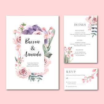 幸せな結婚式カード花の庭の招待状カード結婚、rsvpの詳細。