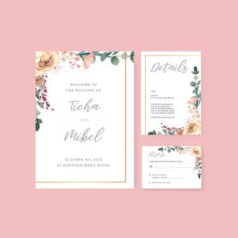 Счастливая свадьба карты цветочный сад пригласительный билет брак, rsvp подробно.
