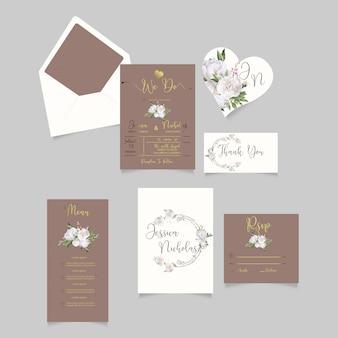 素朴な結婚式の招待状rsvpカード水彩風
