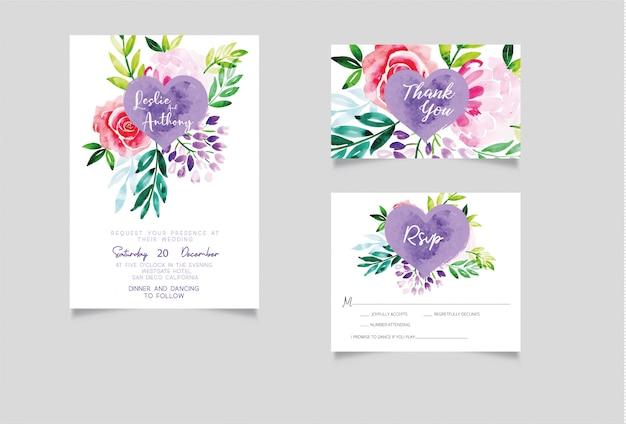 水彩の結婚式招待状、rsvpとありがとうカード