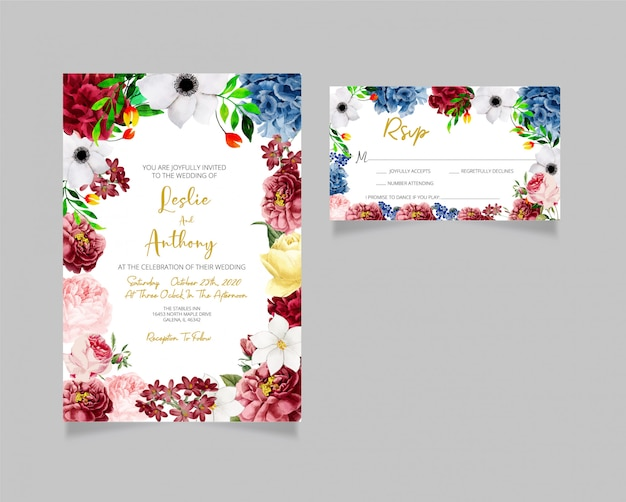 現代の結婚式の招待状とrsvpカード