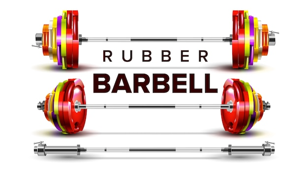 Rubber barbell lifting collapsible set